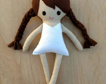 Dress up doll, dress up fabric doll, rag doll, brown hair plush doll, brunette hair base doll, soft dress up doll, piggy tails braids