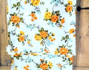 "Original Vintage 1960s Barkcloth Yellow & White Rose Pattern  Pair Of Curtains Drapes Window Panels 32"" x 51"""