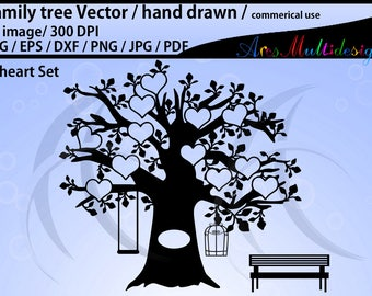 family tree clipart SVG, EPS, Dxf, Png, Pdf, J /family tree silhouette /hand drawn tree svg vector / Commerical & personal use / 12 hearts