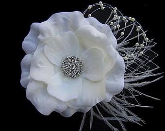 Lena - Bridal Ivory Flower Hair Clip Fascinator Clear Rhinestone-Ostrich feathers
