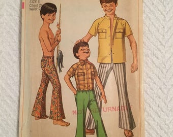 Vintage 1969 Simplicity Pant and Shirt Pattern for Boys Size 6