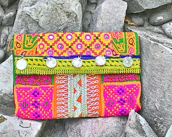 FREE SHIPPING! EXQUISITE Banjara clutch bag from India, boho/ hippie/chic/  handmade/ tribal/ indian/ birthday/ sling bag/ purse/ bag/ pouch