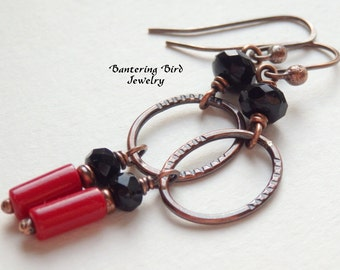 Long Black and Red Earrings with Oval Hoops, Glass Bead Earrings, Unique Copper Jewelry, Valentine's Day Gift