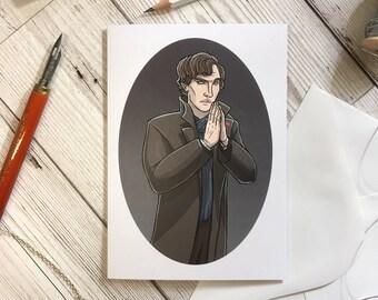Sherlock Holmes card, A6 size, birthday card, friend card, sister card, sherlock lover card, Sherlock card, Benedict Cumberbatch