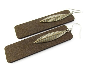 Long Wooden Brown Rectangle Earrings with Antique Brass Feather Metal Charms
