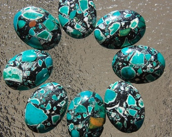 1 Mother of Pearl Shell composite bead black and turquoise