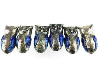Enameled Owl Beads, Parliament of 6