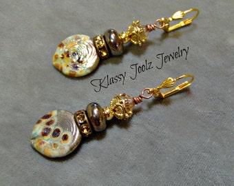 Lampwork Earrings-Artisan Lampwork Bead Earrings-Art Beaded Earrings-Organic Earrings-Boho Earrings-SRAJD-Statment Earrings-Dangle earrings