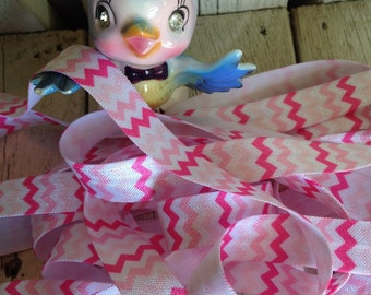 99 CENTS SALE-Elastic-Pink SHADES Chevron- 5/8 inches -5 yards
