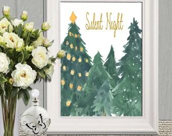 Christmas Tree Printable Wall art Large Christmas Decor Print Silent night Christmas carol Decoration Download 16x20 11x14 8x10 5x7 4x7