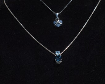 Wedgwood Heart Necklace and Blue Sapphire Sterling Necklace