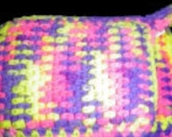Hand Crafted Pot Holder Set - Pink,Purple,And Yellow