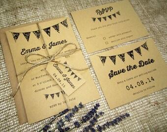 Rustic bunting wedding invitation with twine and tag / Bunting invite / kraft card invitation  / vintage wedding / country wedding / SAMPLE