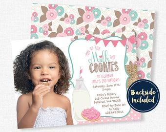 Milk and Cookies Birthday Invitation, Sugar Cookie Invitation, Milk & Cookies Party, Burlap Invitation