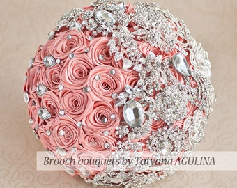 Wedding brooch bouquet. Bridal bouquet. Coral and silver brooch bouquet, Jeweled Bouquet. Made upon request Quinceanera keepsake bouquet