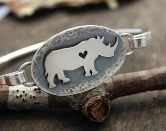 Rhino Bracelet, Rhino tension bracelet, sterling silver, hand made.