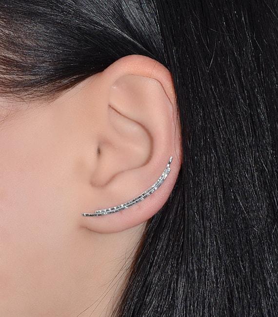 Curved Ear Climber Earring Silver Textured Bar Stud