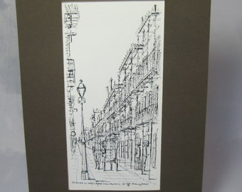 St. Peter St Vieux Carre' New Orleans by FrankWeiss Print Matted Signed by the artist 1970