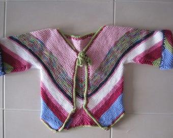 Cardigan, little girl size 3 to 4, pure wool hand knit, Bendigo Woollen Mills, Australian grown wool.