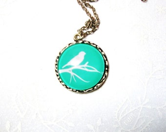 SALE -Bird necklace- Turquoise Bird on the  branch  pendant