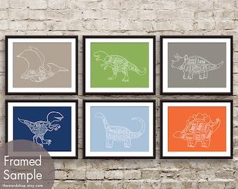Dinosaur Butcher Art Series Set of 6 - Art Prints (Assorted Colors) Pterodactyl, T-Rex, Triceratops, Velociraptor, Bronto and Stegosaurus