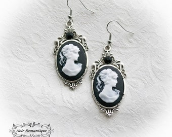 Silver victorian gothic cameo earrings-gothic earrings-Vintage earrings-Cameo earrings-Victorian gothic jewelry