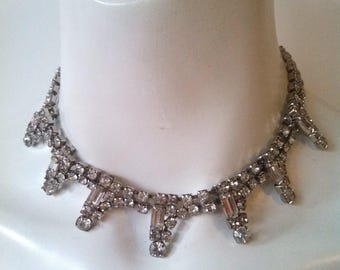 Vintage 1950s Rhinestone Necklace / Old Hollywood Glam / FREE SHIPPING in the US