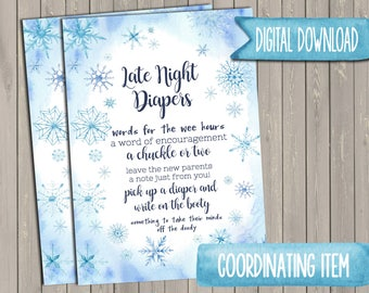 Baby It's Cold Outside Baby Shower Late Night Diapers Sign DIGITAL DOWNLOAD Winter Baby Shower Sign