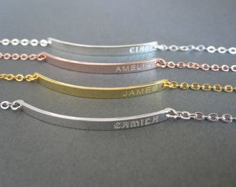 Personalized Engraved Name Skinny Bar Bracelet - 4 Colors - Custom Name Bracelet - Name Jewelry - Gift for Her - Gift for Women