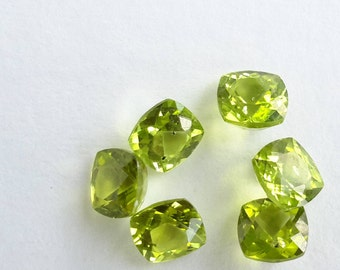 peridot, 6 mm parcel, 6 pieces 7.26 ct in total, loose peridot parcel gemstones VS clarity, 6.1 mm x 6 mm x 3.9 mm, genuine peridot, gems