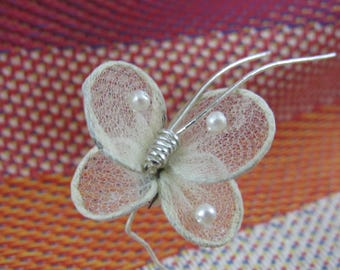 Vintage 1950s Miniature Tulle BUTTERFLY Wire Stem Faux Pearls Decoration Holiday Craft Gift Tags Diorama Fairy Garden Floral Millinery