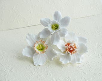 Daffodils Hair Pin, Flowers Hair Accessory, White Orange Daffodils Hair Pin, Hair Pin Flowers, Spring Wedding, White Flowergirl Accessories