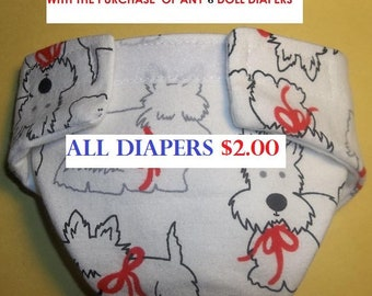 Cloth Doll diaper SIZE #2 ready to ship scotty dog  fits Luvabella some Baby alive cabbage patch snackin sara stuffed animals and more