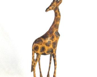 Hand Carved Giraffe - Tall Wild Animal Statue - Figurine