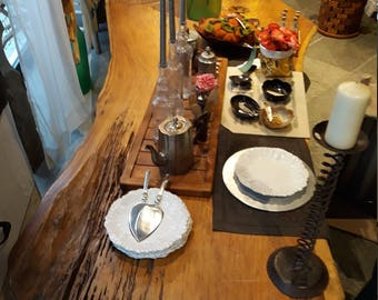 Table carved from a tree trunk
