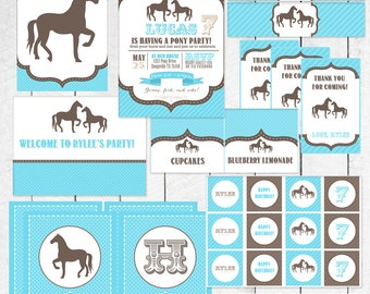 Blue (or red) Western Pony Horses Birthday Party collection, invitations, party decorations, cupcake toppers, door sign, tags