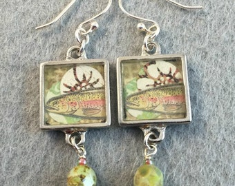 Rainbow Trout Resin Earrings