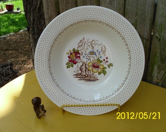 Vintage Royal China-Chippendale-Serving/Vegetable Bowl-Floral Transferware/Polka Dot Trim