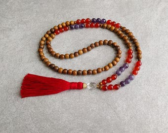 The ARIES Mala - Carnelian & Amethyst with Quartz Crystal / Robles Wood - Red Tassel - Adventurous - Confident - Item # 701