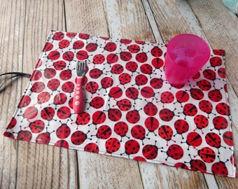 Travel Placemat Double Sided Baby Toddler Child Kid Laminated Cotton Handmade - Wipe Down Easy to Clean Store - Ladybug