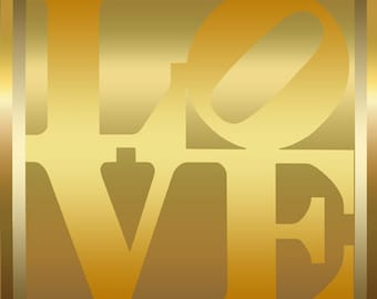 Tribute to Robert Indiana Pop Art 16x16 Golden Love Metallic Limited Edition Print Signed by Auric Visual Artist