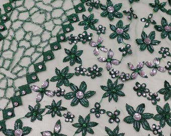 Beaded green lace fabric, Sequin lace, French lace, Chantilly lace, Bridal lace, Wedding lace, Embroidered Lace Floral lace LUX9125