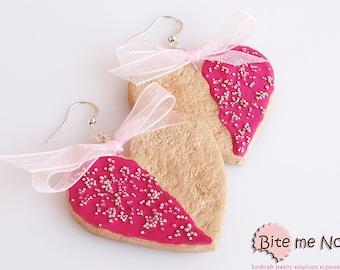 Polymer clay Jewelry Strawberry Heart Biscuits Hook Earrings, Mini Food, Polymer Clay Sweets, Miniature Food Jewelry, Kawaii Jewelry