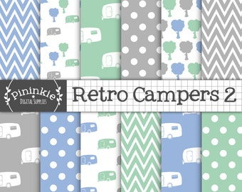 Retro Caravan Digital Paper, Summer Digital Paper, Camping Digital Paper, Camper, RV, Download, Commercial Use, Mint Green, Blue, Grey