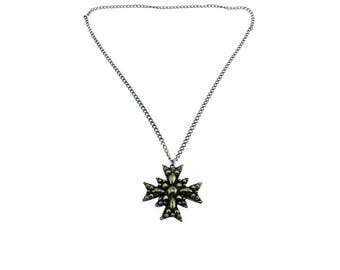 Long Silver Maltese Cross Pendant Necklace, Silver Maltese Cross Necklace, Long Silver Chain Necklace with Cross Pendant
