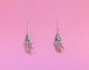 Skeletal Hand Earrings