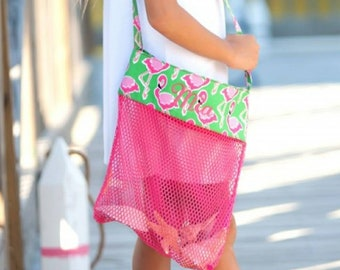Flamingle Shell Tote - Flamingo Beach Bag - Kids Shell Tote - Flamingo Bag - Beach Bag - Shell Tote - Mesh Bag