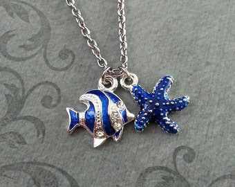 Blue Starfish Necklace, SMALL Starfish Jewelry, Blue Striped Fish Charm, Teenage Girl Jewelry, Enamel Jewelry Bridesmaid Gift Ocean Necklace