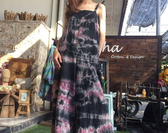 A010 Lovely oversized cotton jumpsuit with o with out sleeve in tie dye t for everyday wear