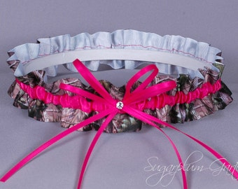 Wedding Garter in Hot Pink and Realtree Camouflage Grosgrain with Swarovski Crystal - Ready to Ship